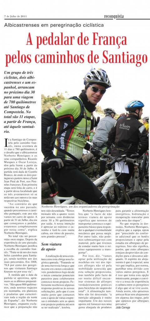 Rumo a Santiago 2011 no jornal Reconquista